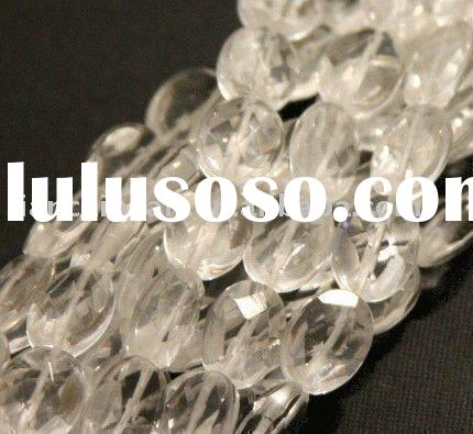 Clear Quartz glass faceted oval beads 12X6mm strand 16''L Natural Round Stone Beads