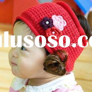 Cute fabric flower hairbands with wig for the childrens