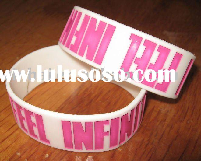 Debossed with color filled Silicone Wristbands with 1inch wide