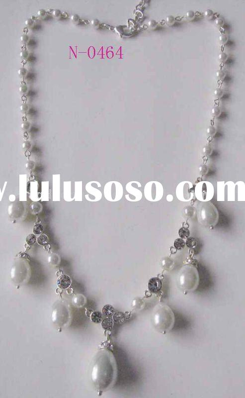 Designer costume jewelry bridal white pearl crystal rhinestone necklace
