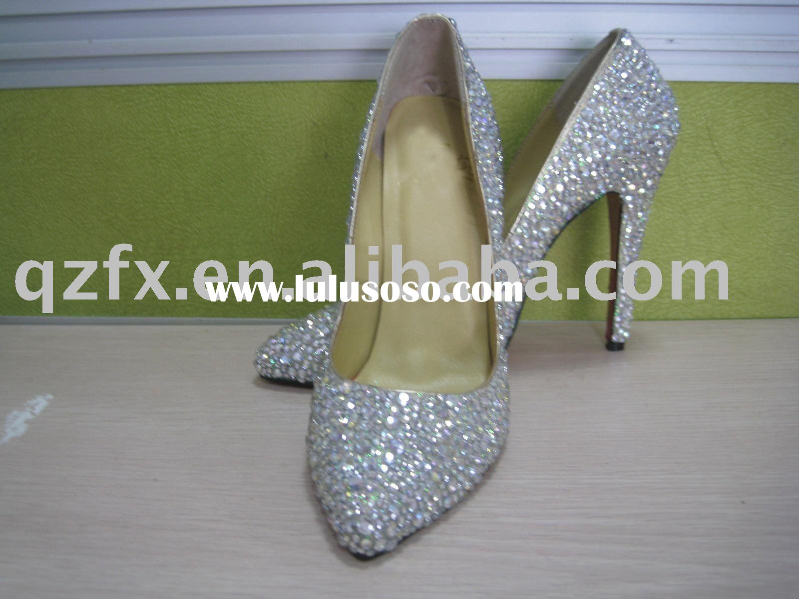 Elegant white crystal wedding shoes bridal shoes high heel party shoes