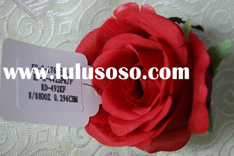 FLH0002-15 Red Artificial Flower Head Rose