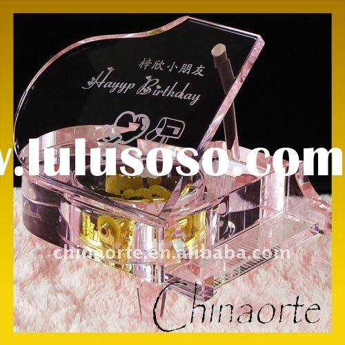 Fashion Pink Piano Crystal Music Box for Wedding Gifts