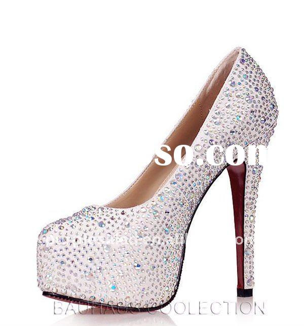 Fashion Platform Diamante Crystal High Heel Shoes- Sliver