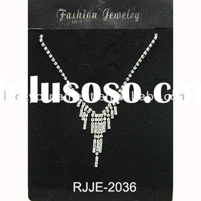 Fashion necklace set/imitation jewelry/rhinestone jewelry set/cheap price jewelry(RJJE-2036)