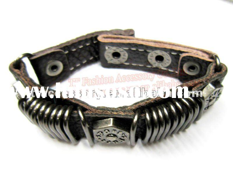 Fashion rivet punk tribal Leather bracelet bangle men jewelry
