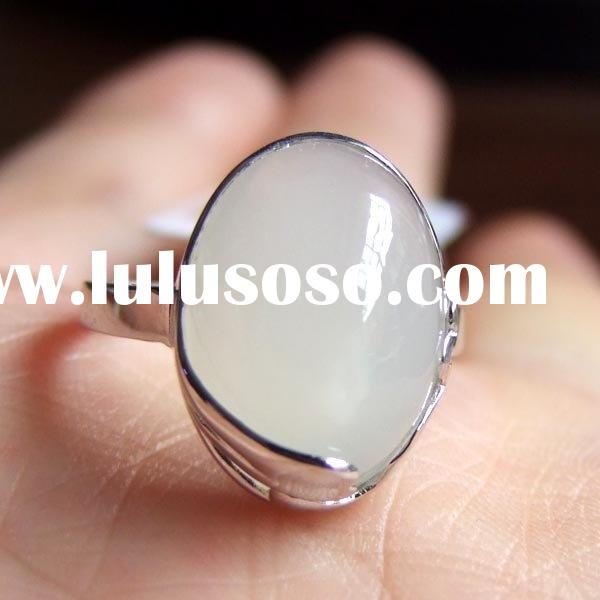 Fine Gemstone Jewelry-925 Sterling Silver Natural Moonstone Ring(00080767)