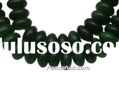 Gemstone Beads, White Jade, Abacus, Dyed, DarkGreen, about 5~8mm in diameter, 4mm thick, hole: 1mm,