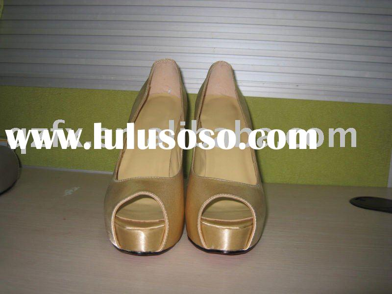 Gold high heel shoes, wedding party shoes