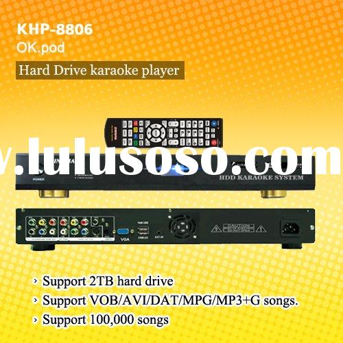 HDD karaoke player ,Support VOB/DAT/AVI/MPG/CDG/MP3+G songs ,USB add songs ,select songs