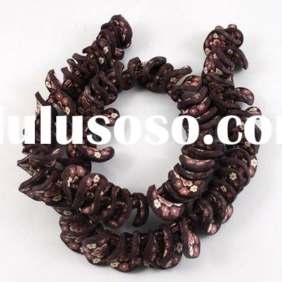 Handmade Polymer Clay Beads Strands, Twist, SaddleBrown, about 18x18x2mm, hole: 2mm, about 80pcs/str