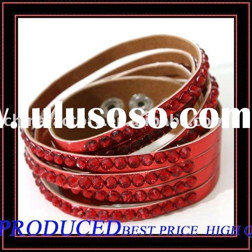 Hot Selling Red 4lines Roll Up double Leather Rhinestone wrap Bracelet for women
