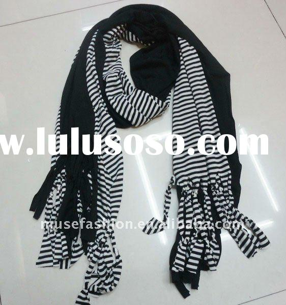 Hot sale in Australia Jersey fashion scarf in black and white stripe color cotton scarf