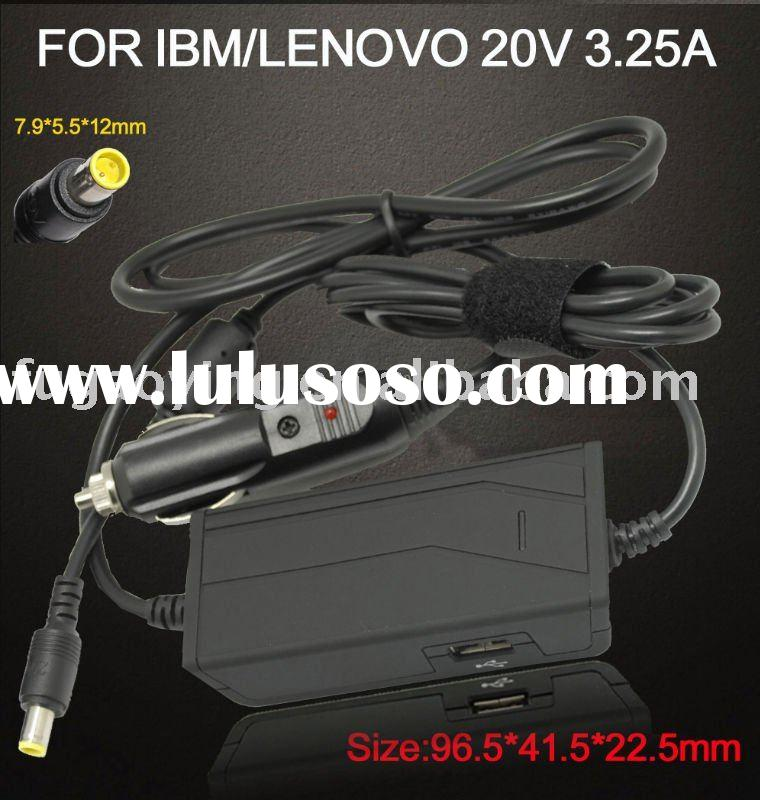 Laptop DC adapter for IBM LENOVO 20V 3.25A car charger power supply