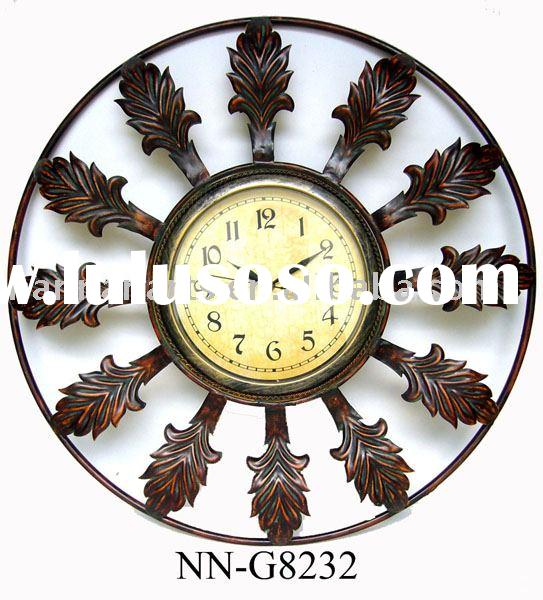 Large sale decorative antique metal wall clock