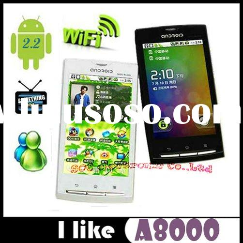 Latest 3G A8000 smart phone with wifi GPS,dual sim android touch screen phone