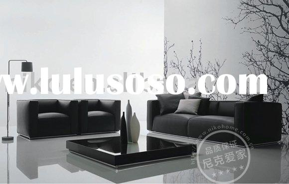 Modern Black Fabric 3+2+1 Sofa Set Furniture