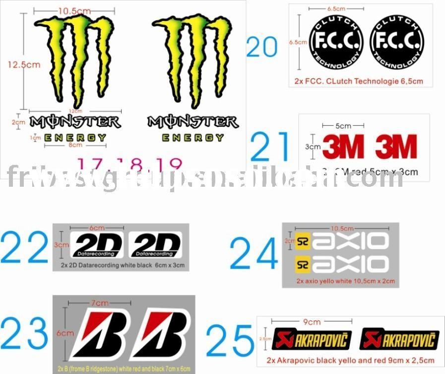 Motorcycle stickers decals for KAWASAKI MONSTER ENERG
