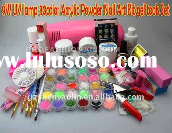 Professional Full Set Acrylic Powder UV Gel Brush Pen UV Lamp Nail Art DIY Manicure kit NA595