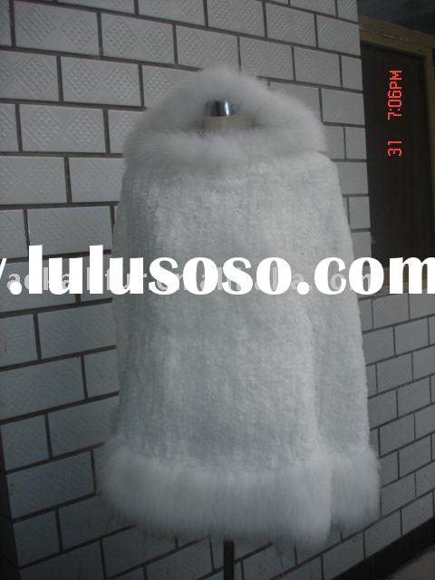 REX RABBIT FUR PONCHO FOX FUR TRIMING RABBIT FUR COAT