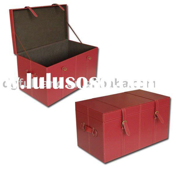 Red Faux Leather Home Storage Trunk