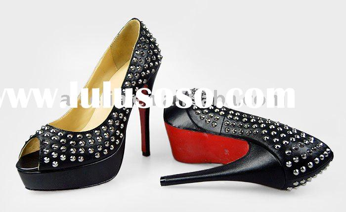 Red bottom wedding shoe peep toe with studs