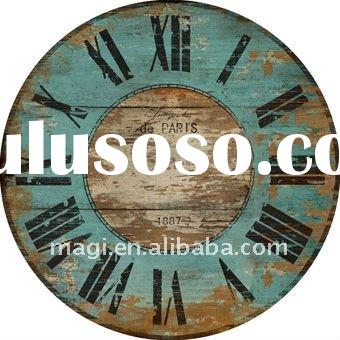 Retro Style Antique Green Round Decorative Wooden Wall Clock