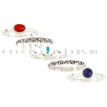 Set of Five Gemstone Stack Sterling Silver Rings