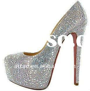 Silver Diamante Heels/Red bottom High-heels Shoes