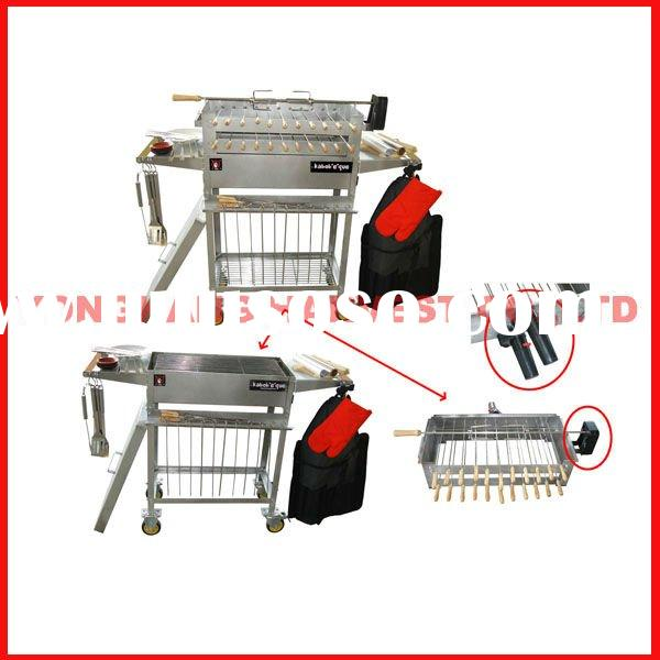 Stainless Steel Rotisserie BBQ Grill with 3 motors and 37 bbq spits