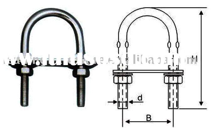 Stainless steel U bolt with flat washrs and nuts(Wire rope clip)