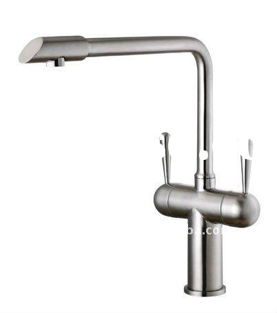 Stainless steel two handle kitchen taps