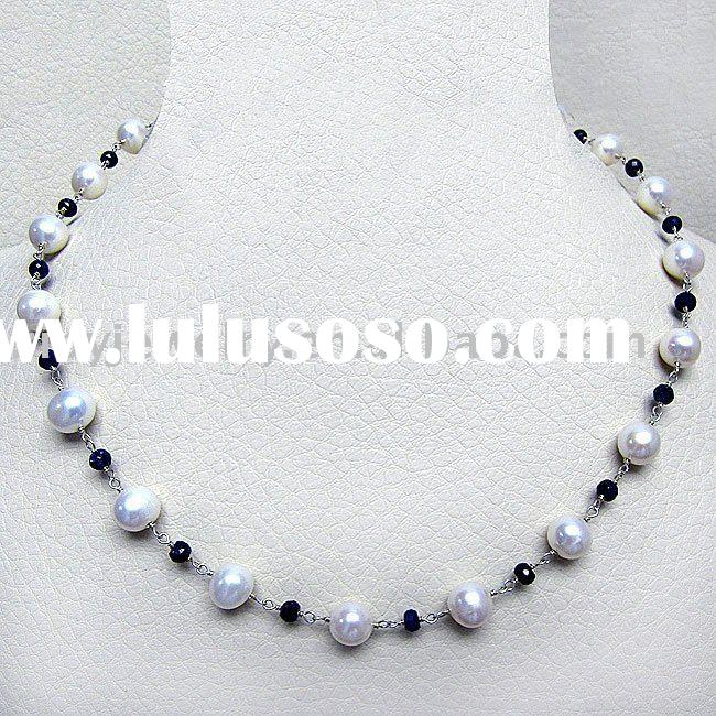 Sterling Silver Freshwater Pearl and Sapphire Necklace