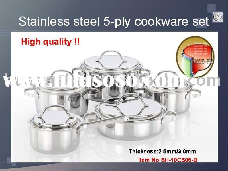 Stianless steel cookware set ,Stainless steel cookware set,stainless steel 5-layer cookware set