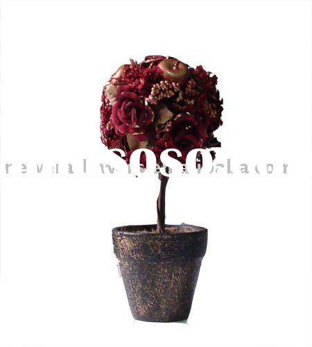 artificial red apple rose flower bonsai