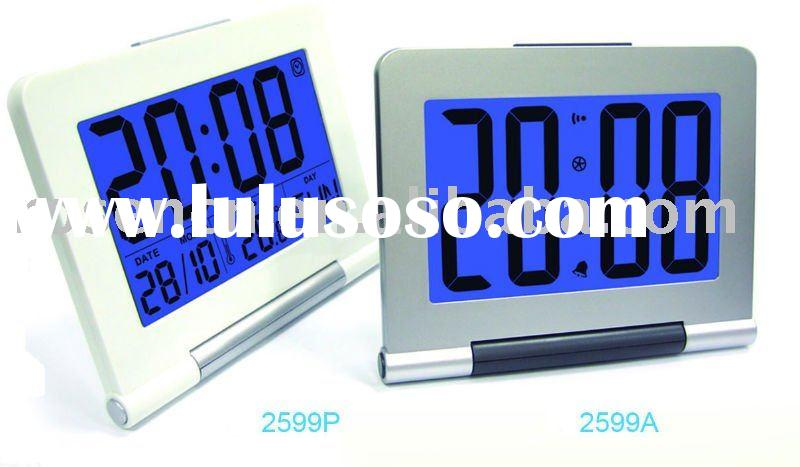 big size LCD digital wall clock with alarm clock and LED backlight