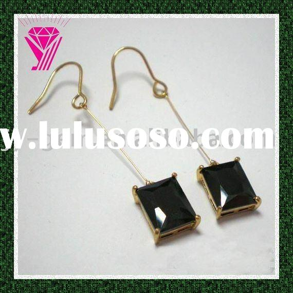 black onyx rectangle cut cubic zirconia stone for jewelry