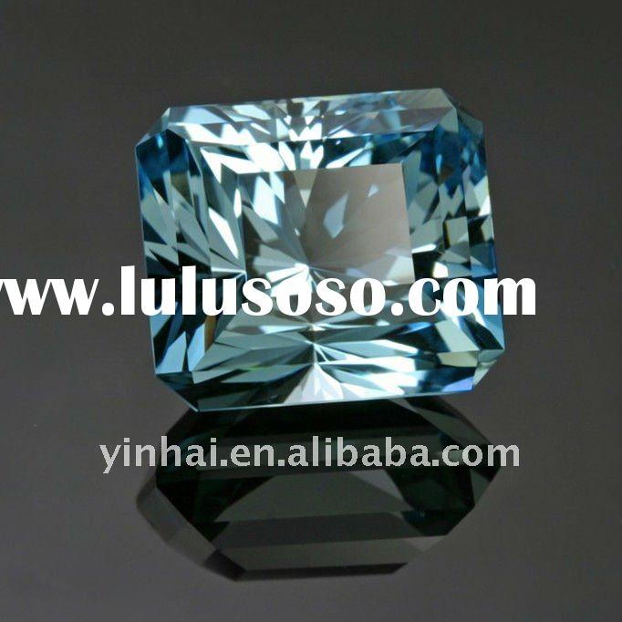 blue emerald cut CZ diamonds, cubic zirconia jewelry stones, AAAA zircons gems