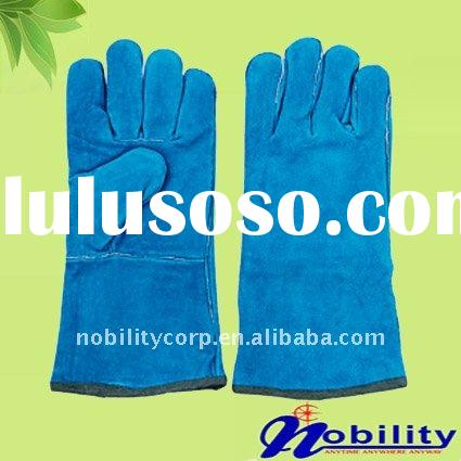 blue long sleeve cow split leather welding working gloves