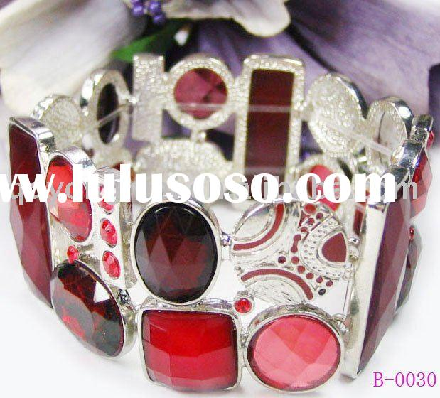 bridal wedding costume jewelry elegant alloy silver plated big red crystal diamond wide bracelet