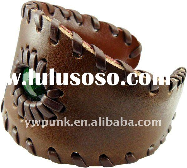 brown genuine braided power leather bracelet for women