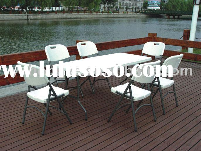 cheap white 6ft plastic folding table and folding chair set(blow mould, HDPE, outdoor furniture)