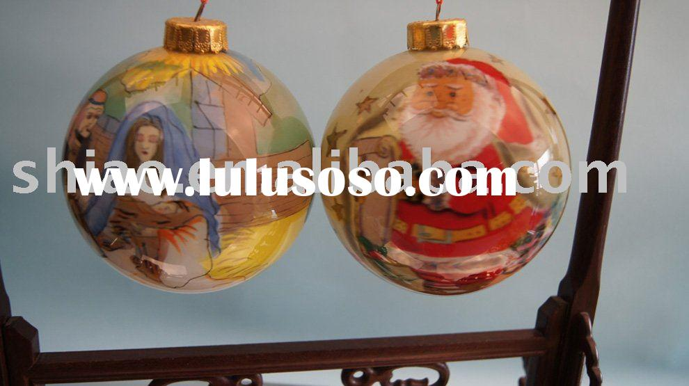 christmas house decoration of 9cm glass ball inside painted cartoon pic as best christmas gift on pr
