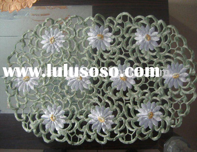 daisy design table mat/table cover, embroidery table cloth, polyester table cloth