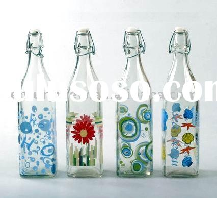 decaled glass water square bottle