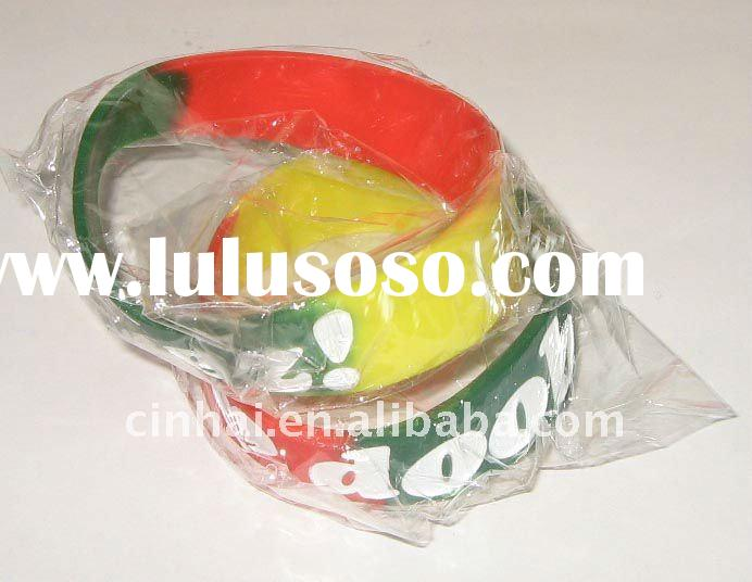 eco-friendly multi-colour Silicone Wristbands with debossed and color filled logo