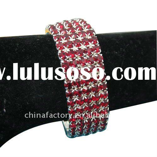 elastic metal 5rows red square rhinestone bracelet