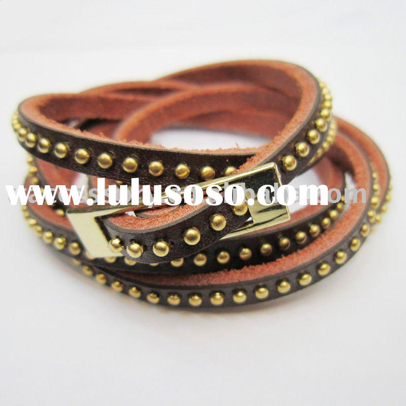 fashion Handmade wrapped Dome Studded Leather Bracelet for women