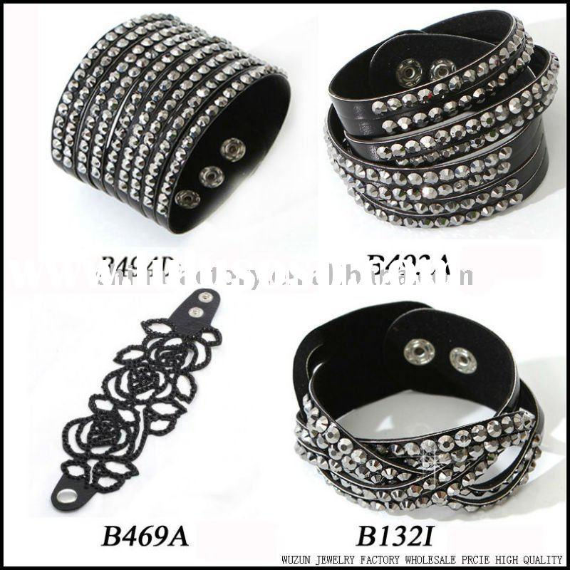 fashion jewelry popular rhinestone stud faux leather bracelet