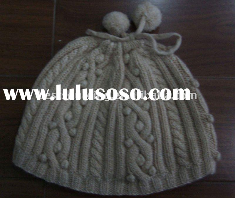 ladies winter accessorise women's cashmere hat hand knit cable and french knots gloves mitte